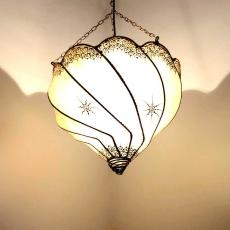 Henna-Deckenlampe aus Leder Kaiser Natur H 50 cm