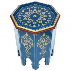 Arabischer Beistelltisch Beirut Blau Handbeamlt Vollholz H 50 cm