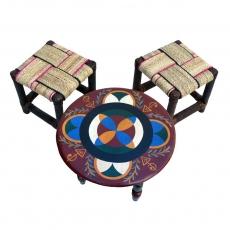 Arabischer Kindertisch Ma – Bordeaux Zedernholz Handbemalt H 27 cm