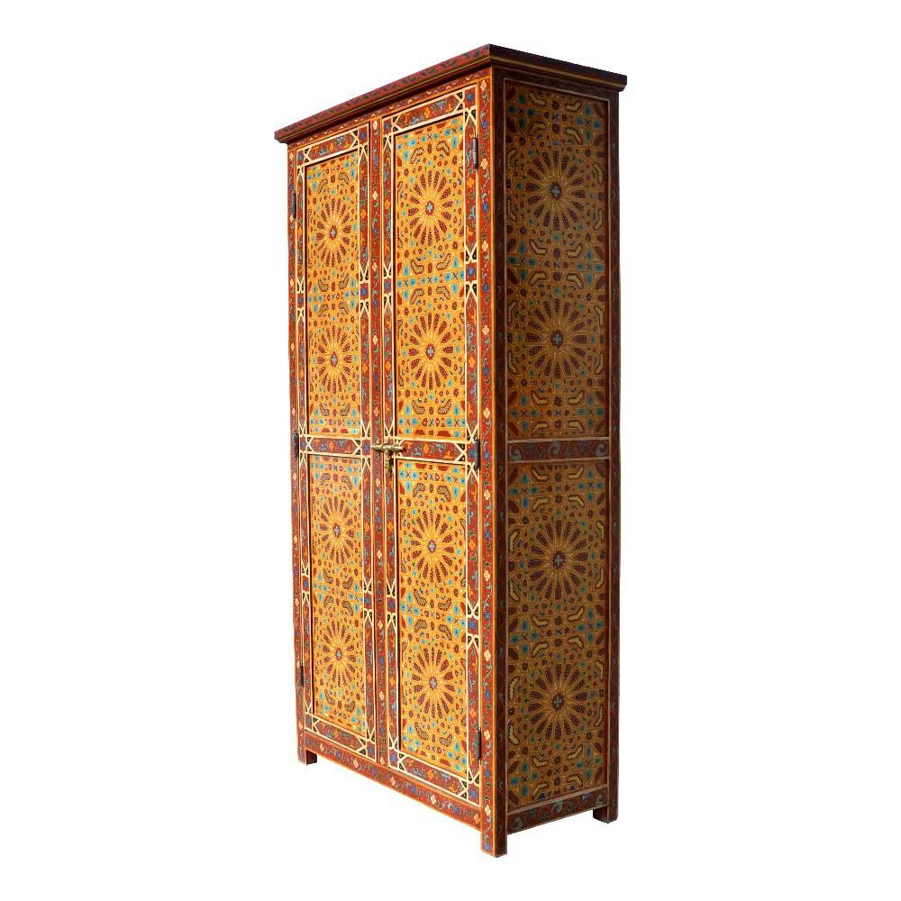 Orientalischer marokkanischer Holz Schrank rot gelb per Hand bemalt ...
