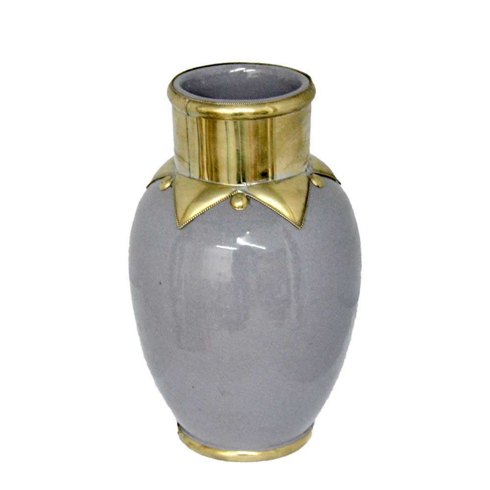 marokkanische keramik vase 23 cm 15 cm f r deko grau online kaufen l. Black Bedroom Furniture Sets. Home Design Ideas