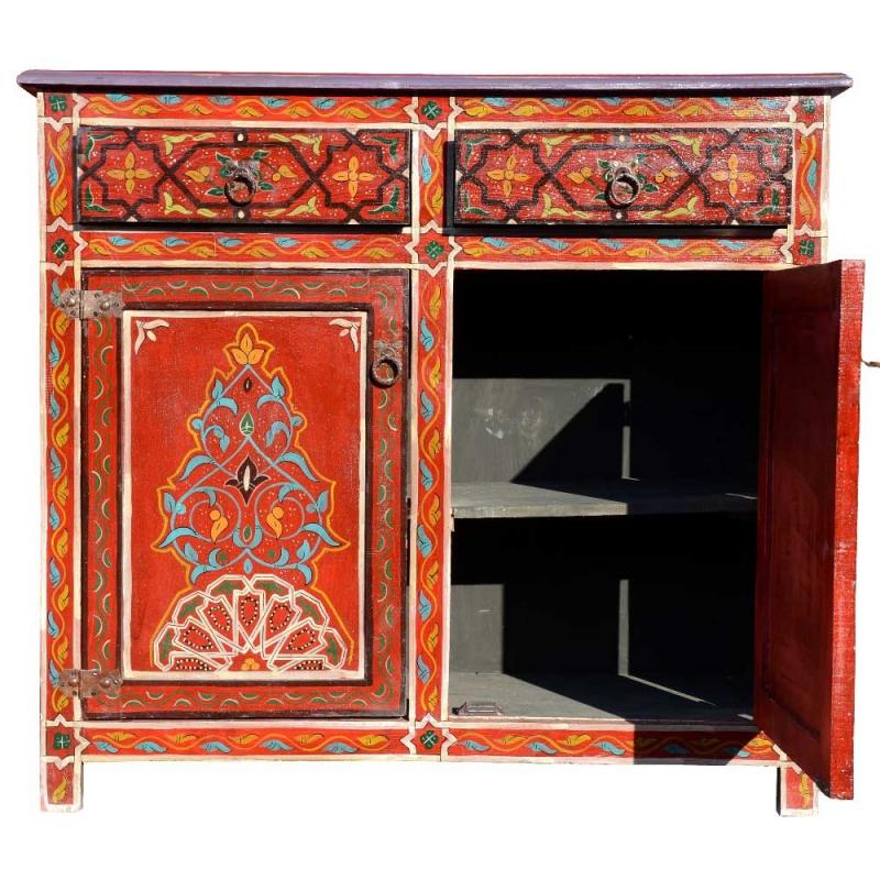 marokkanische kommode vollholz rot handbemalt online kaufen 2 t rig l. Black Bedroom Furniture Sets. Home Design Ideas