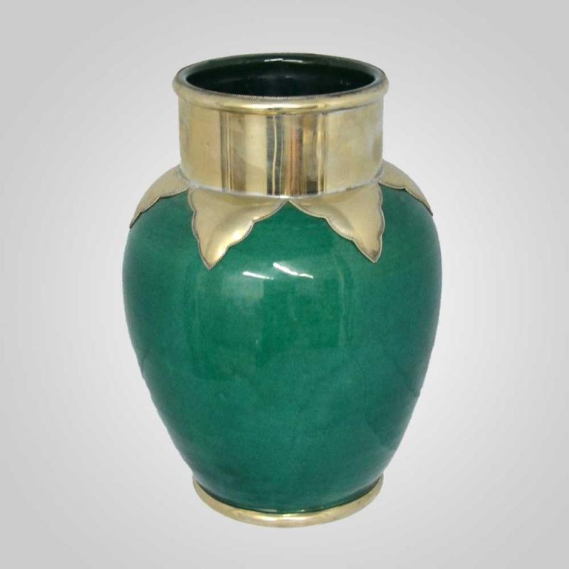 Keramik Vase aus Marokko Grün H30