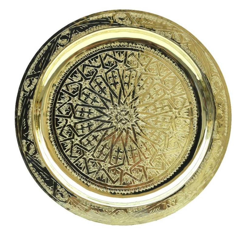Marokkanisches Teetablett Heidi – Messing D 40 cm