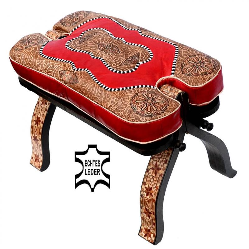 Marokkanischer Kamelhocker Kida – Rot / Echtes Leder H 40 cm