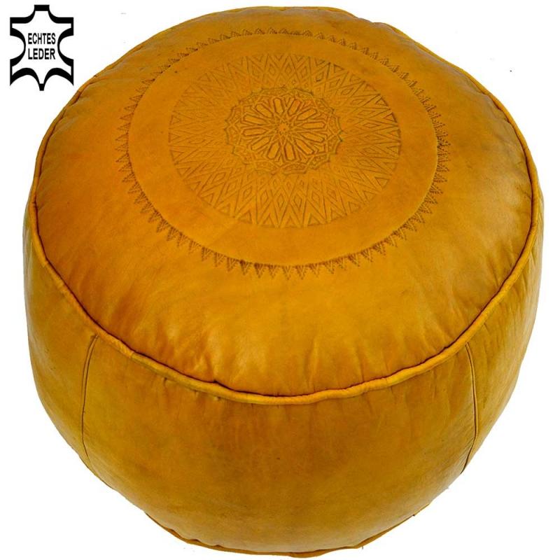 Orientalisches Leder Sitzkissen LSR11 Gelb