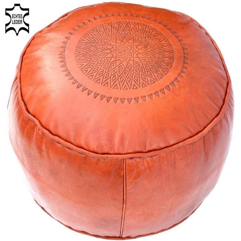 Orientalisches Sitzkissen Ronda Orange aus Echtem Leder