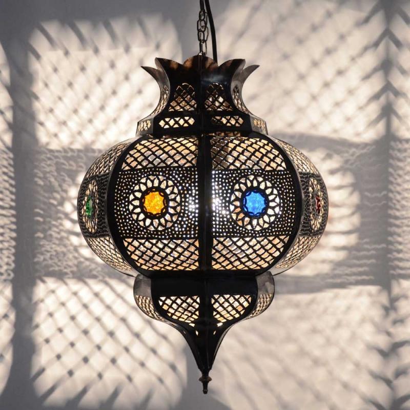 Orientalische Deckenlampe Cleopatra Braun/Kupfer-Antik H 42 cm
