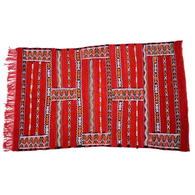 Berber Teppich Hammam –Rot / Baumwolle Kelim L 160 cm