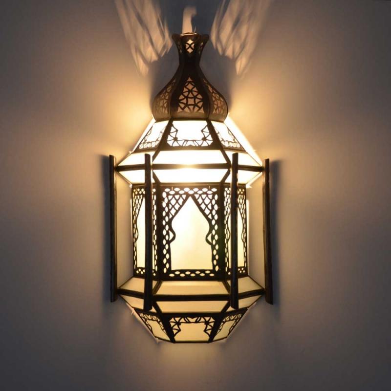 Orientalische Wandlampe Elissa Milchglas H 39 cm