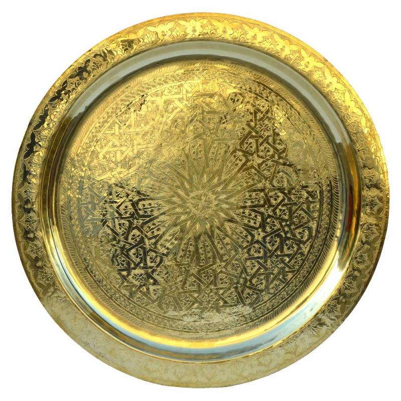Marokkanisches Teetablett Thor – Messing D 80 cm
