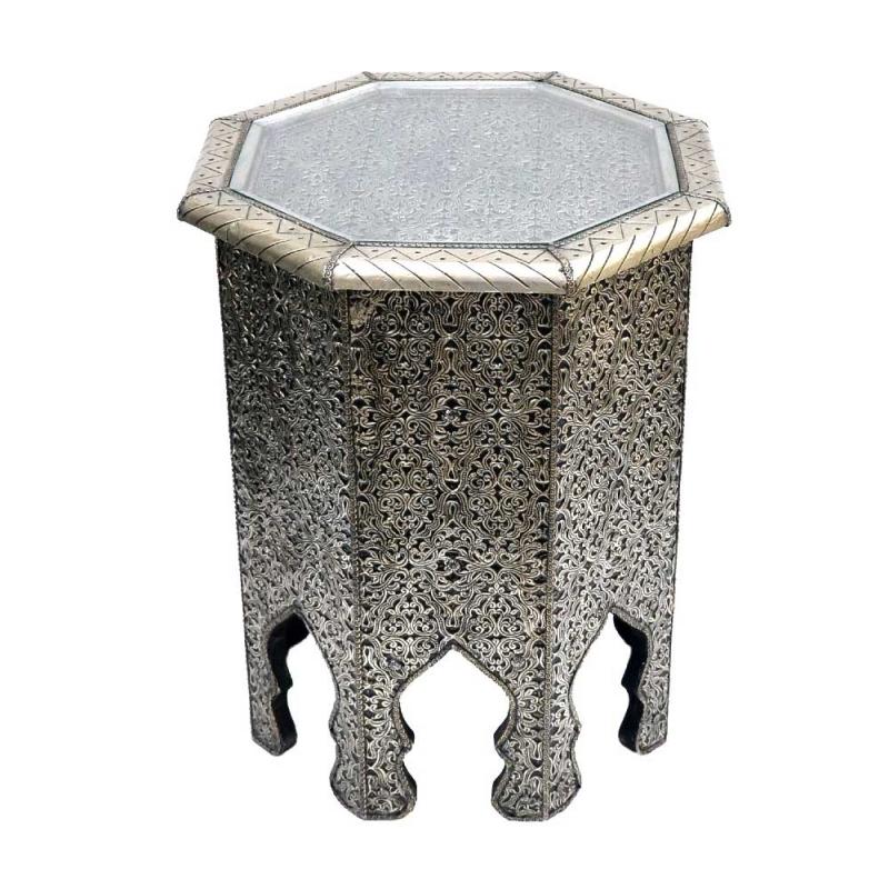 Marokkanischer Beistelltisch Ali - Vollholz Versilbertes Messing H 51 cm