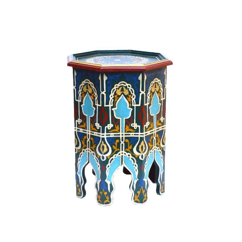 Orientalischer Beistelltisch Bazaar Blau Handbemalt H 50 cm