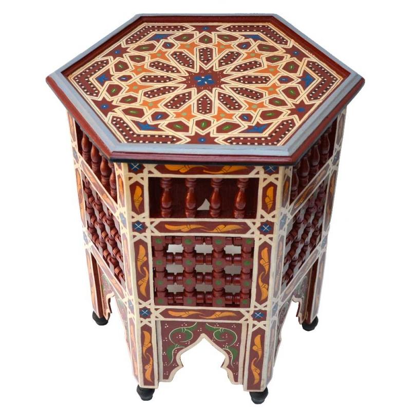 Orientalischer Beistelltisch Suq – Bordeaux Handbemalt 100% Handarbeit H 53 cm