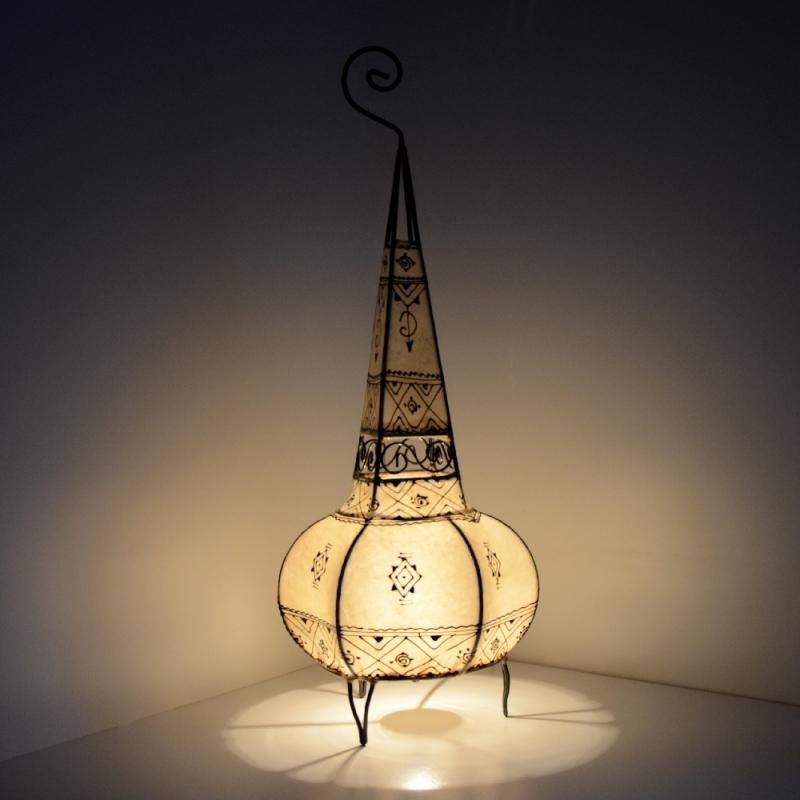 Marokkanische Leder Stehlampe Sofia Weiß
