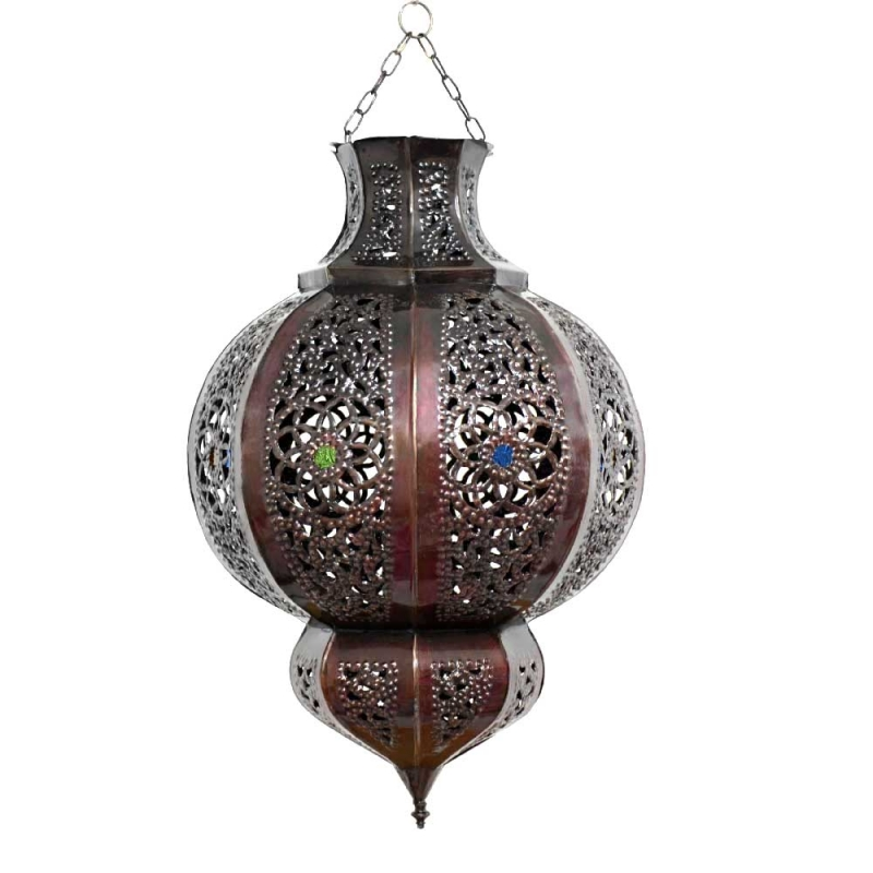 Marokkanische Deckenleuchte Marrakesch Braun/Kupfer-Antik H 45 cm