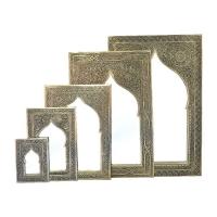 Orientalischer Spiegel S07 aus versilbertem Messing H28cm