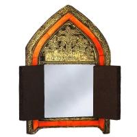 Orientalischer Spiegel Zalora – Vollholz / Messing H 29 cm