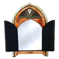 Orientalischer Spiegel Kerala – Vollholz / Messing H 28