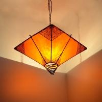 Arabische Deckenlampe Pyramid Orange H 45 cm
