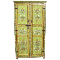 Orientalischer Schrank Dubai Vollholz Grün handbemalt 2 Türig H 200 cm