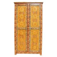 Arabischer Schrank Arabesque Vollholz Handbemalt Gelb 2 Türig 200 cm