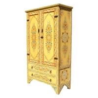 Arabischer Schrank Orient Vollholz Handbemalt Gelb 180 cm