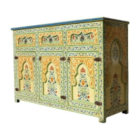 Marokkanische Kommode Casablanca Vollholz Handbemalt Beige H 160 cm