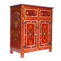 Arabische Kommode Yasmie Vollholz Handbemalt Rot H 81 cm