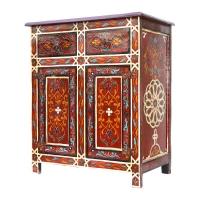 Marokkanische Kommode Maya Vollholz Handbemalt Rotbraun H 81 cm