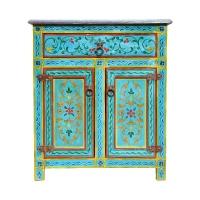 Marokkanische Kommode Maria Handbemalt Türkis H 81 cm