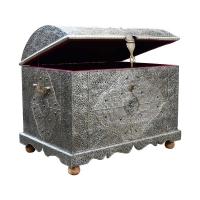 Marokkanische Truhe XL Lady Silber Messingverkleidung 100 % Handarbeit H 65 cm