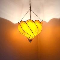 Henna-Deckenlampe aus Leder Kaiser Orange H 50 cm