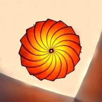 Henna-Deckenleuchte aus Leder Turban Orange H 34 cm