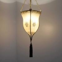 Henna-Hängeleuchte aus Leder Pokal Natur H 60 cm
