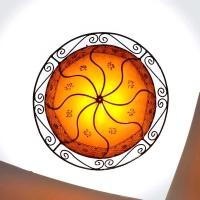 Henna-Hängelampe aus Leder Hats Orange H 40 cm