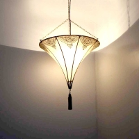 handbemalte Lederlampe aus Marokko Natur