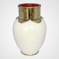 Arabische Vase aus Keramik Weiss H30
