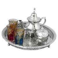 Orientalische Teekanne, Teetablett, Zuckerdose und 3 Teegläser