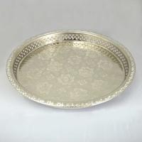 Orientalische Teetablett aus Versilberte Messing D32 cm