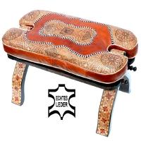 Arabischer Kamelhocker Noah – Hellbraun / Echtes Leder 100 % Handarbeit H 40 cm