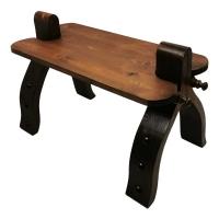 Marokkanischer Kamelhocker Gad – Schwarz / Echtes Leder / Zedernholz H 40 cm