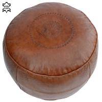 Marokkanisches Sitzkissen Kora – Braun / Echtes Leder D 44 cm