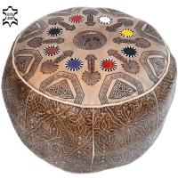 Marokkanisches Sitzkissen Afrika – Hellbraun / Echtes Leder D 49 cm