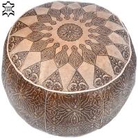 Arabisches Sitzkissen One – Hellbraun / Echtes Leder D 49 cm