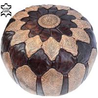 Marokkanisches Sitzkissen Salé – Hell- /Dunkelbraun Echtes Leder D 49 cm