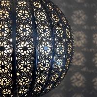 Orientalische Lampe Globe Big Silber H 38 cm