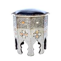 Marokkanischer Hocker Fa – Echtes Leder / Mayshort H 45 cm