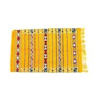 Marokkanischer Berber Teppich Agoda – Gelb / Baumwolle L 130 cm