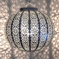 Marokkanische Hängelampe Big Mond Silber H 38 cm